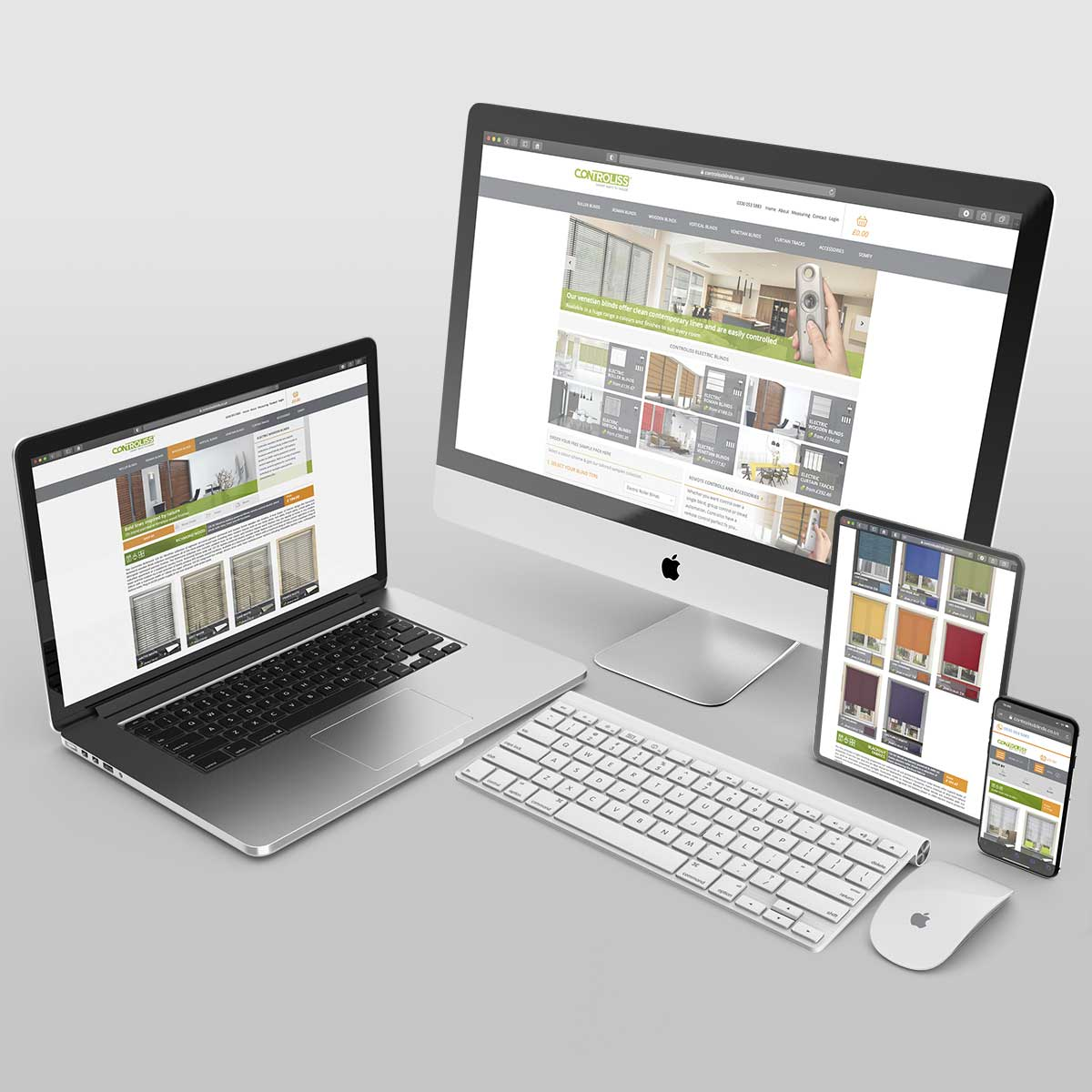Controliss responsive website design shown on multiple device types