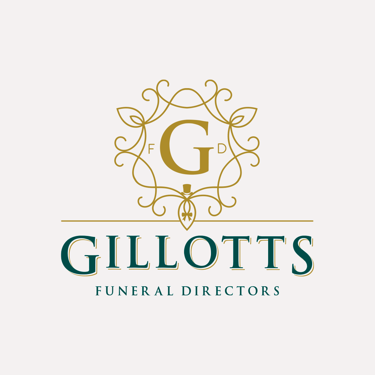 Identity for Gillotts Funeral Directors, light grey background