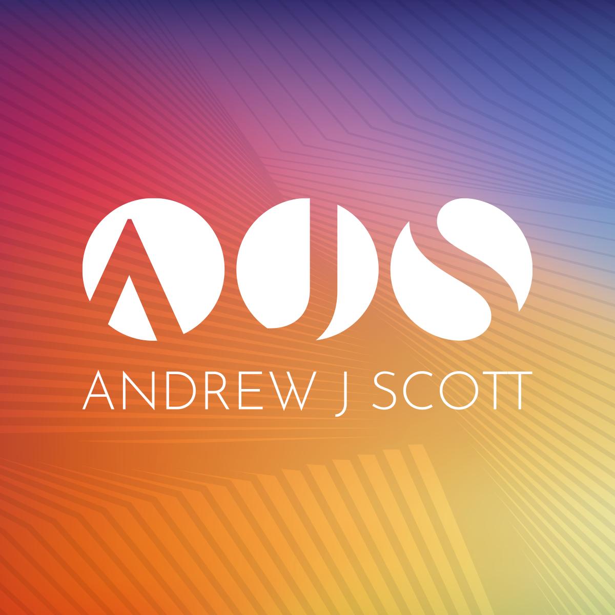 Identity for Professor Andrew J. Scott, AJS logo on multicoloured background