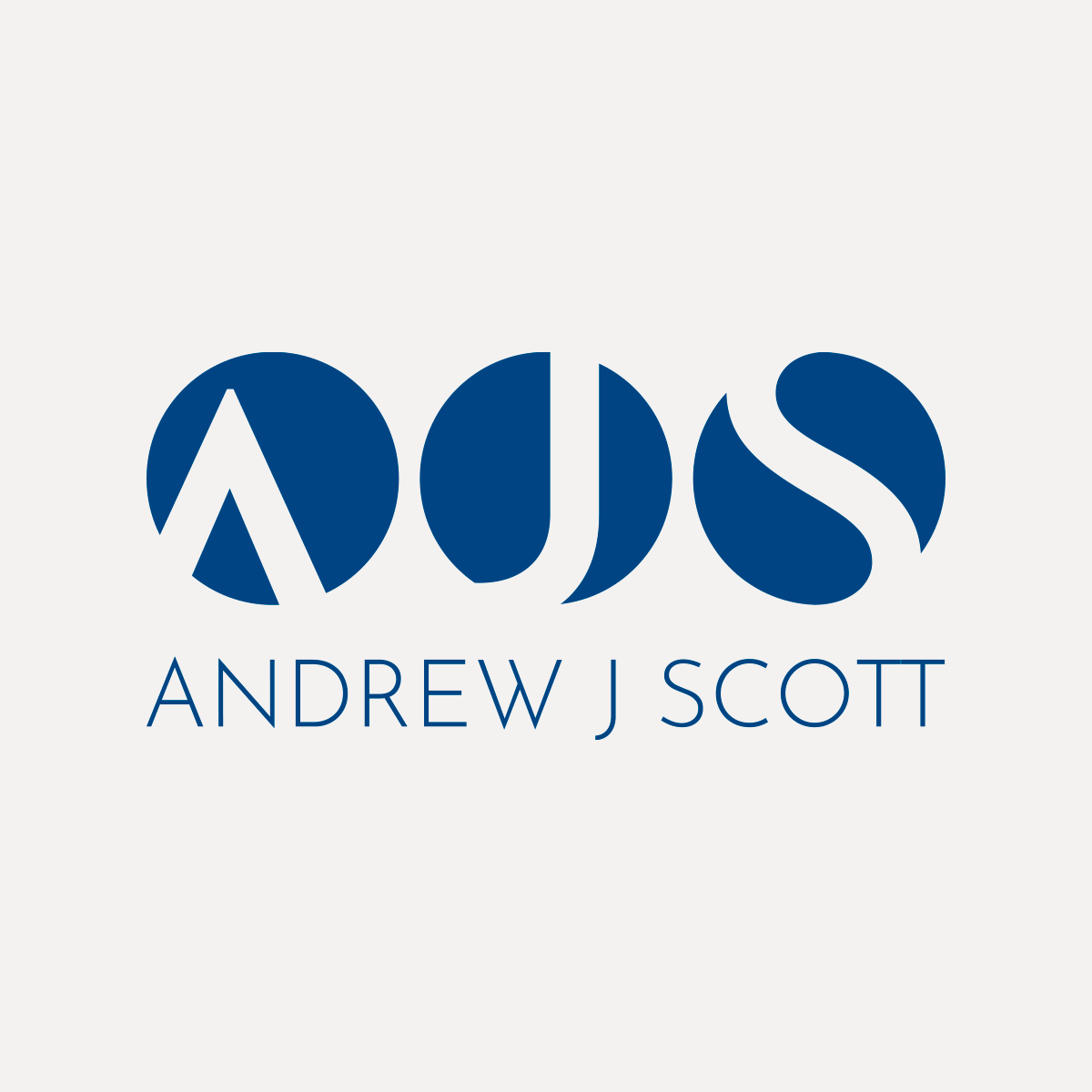 Identity for Professor Andrew J. Scott, AJS blue logo