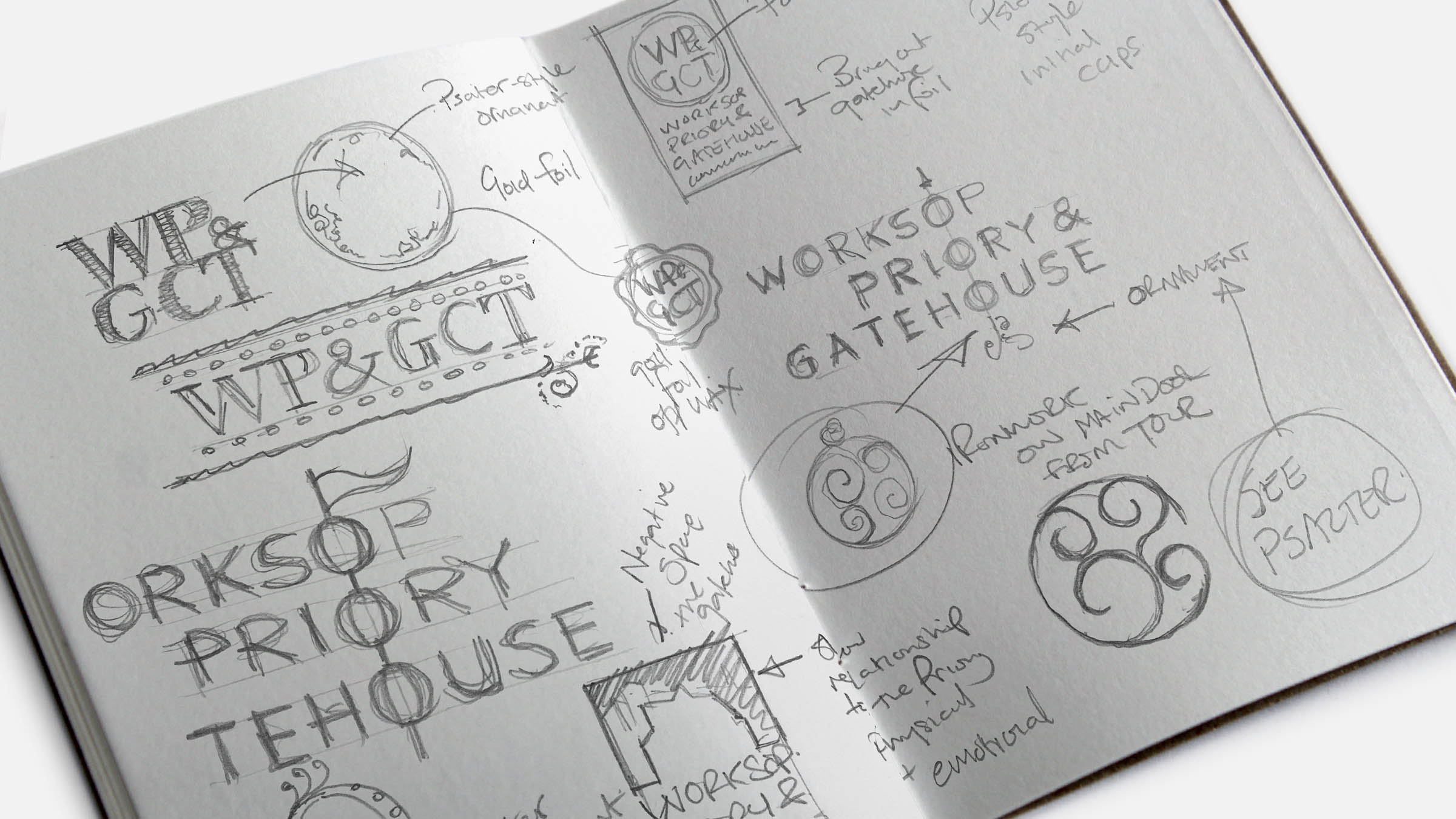 Sketched ideas for Worksop Priory & Gatehouse Community Trust identity logo design