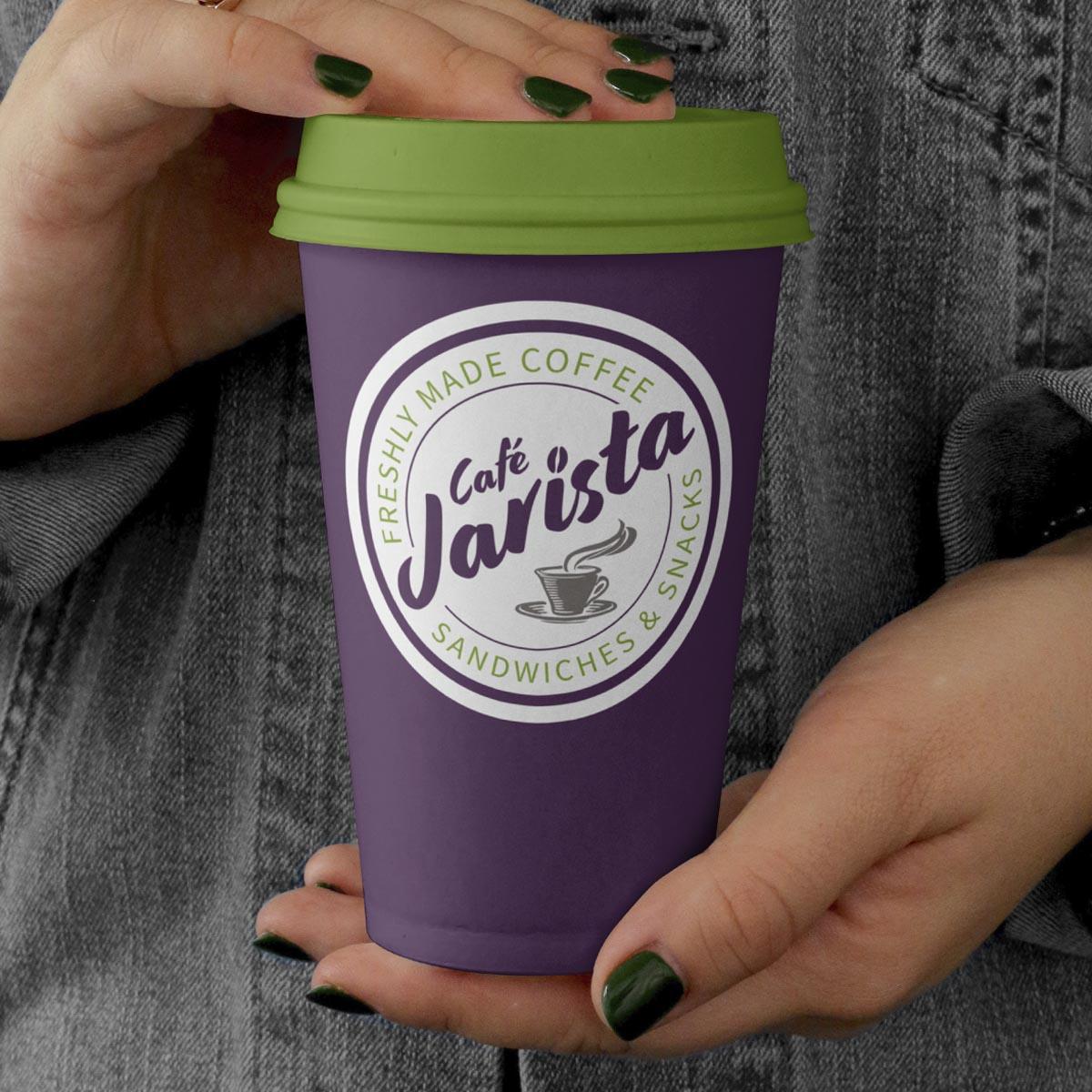 Café Jarista branded coffee cup