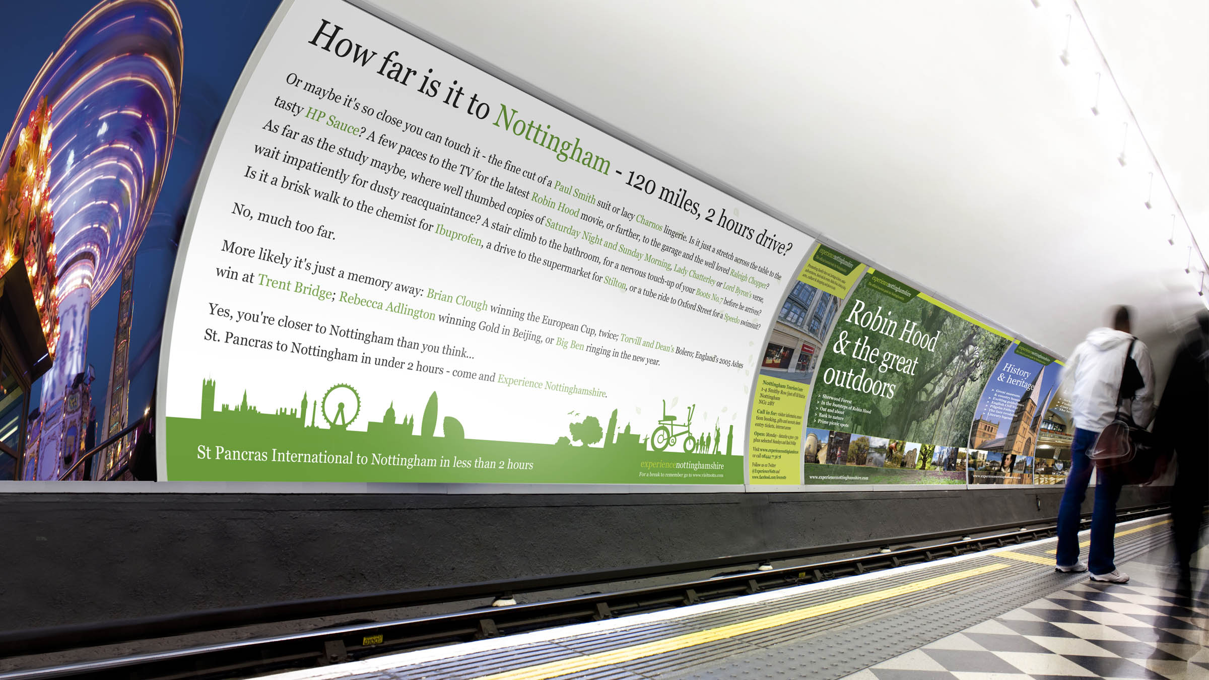 Experience Nottinghamshire advertising concept for the London Underground