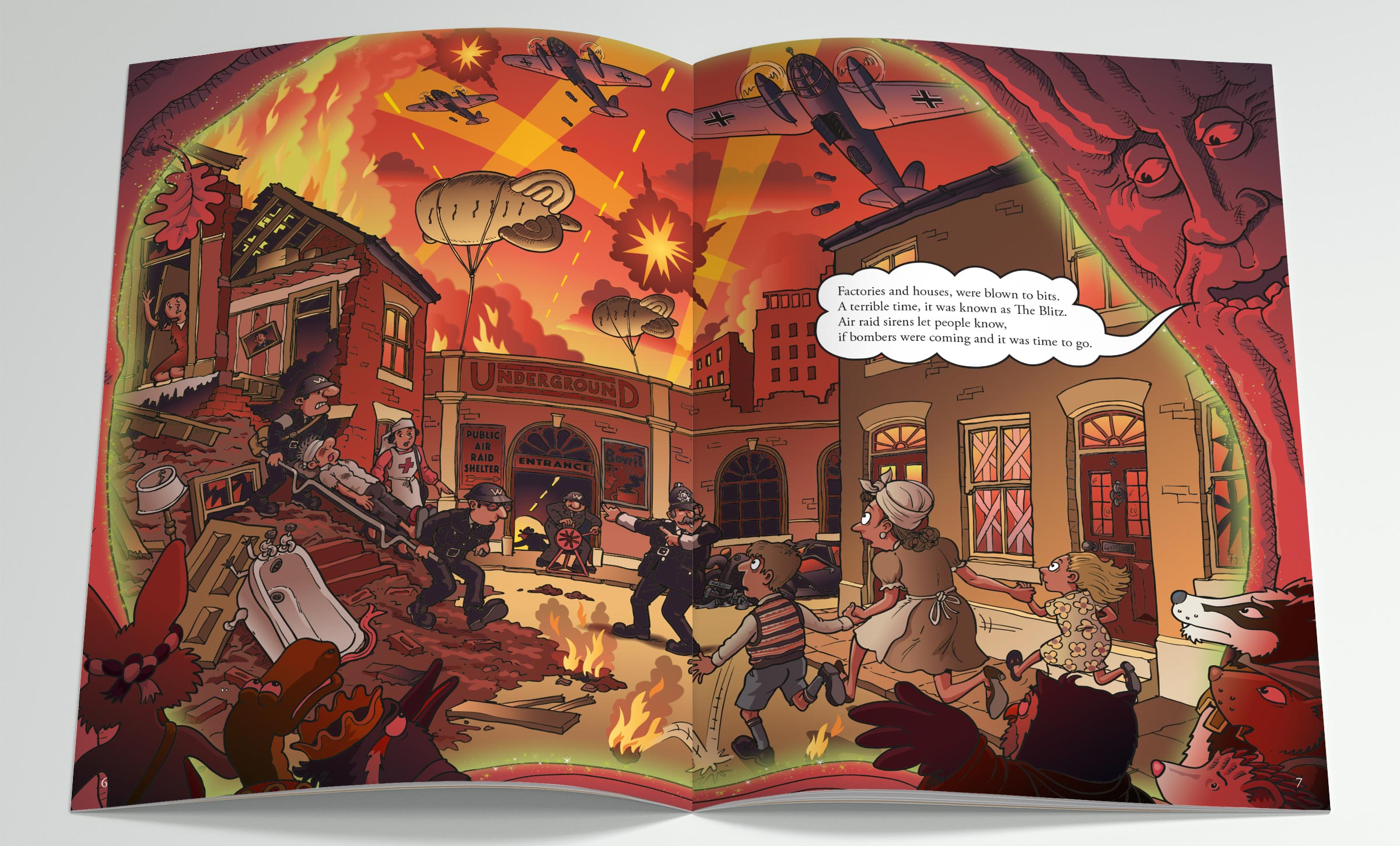 A sample spread from Robin Hood's Little Outlaws' second book, Evacuees