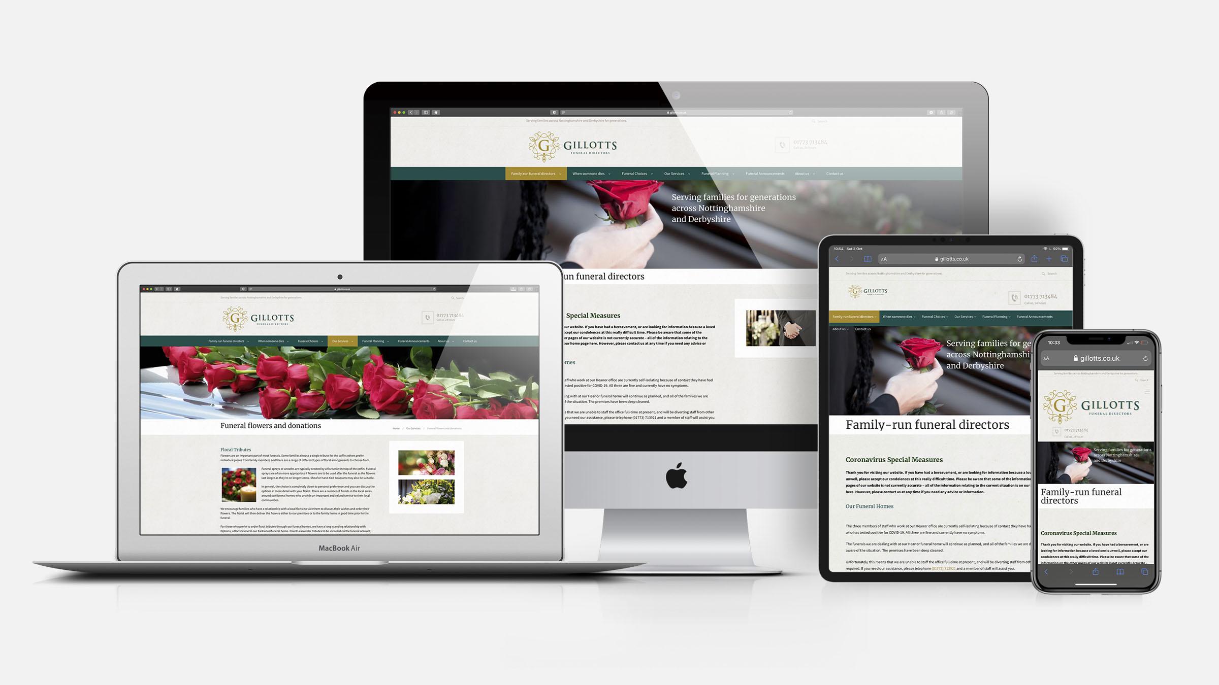 Gillotts Funeral Directors responsive website