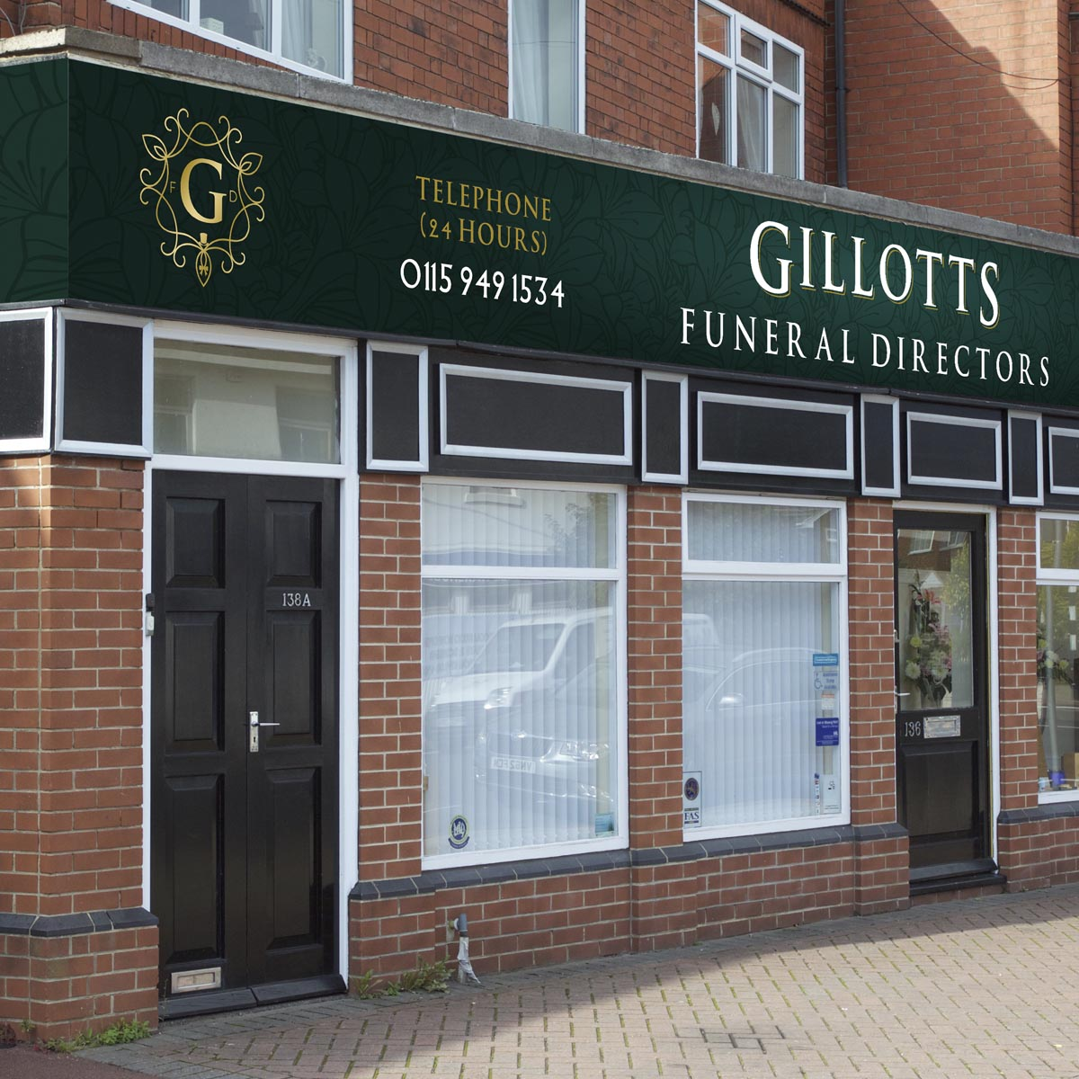 Gillotts Funeral Directors branch signage