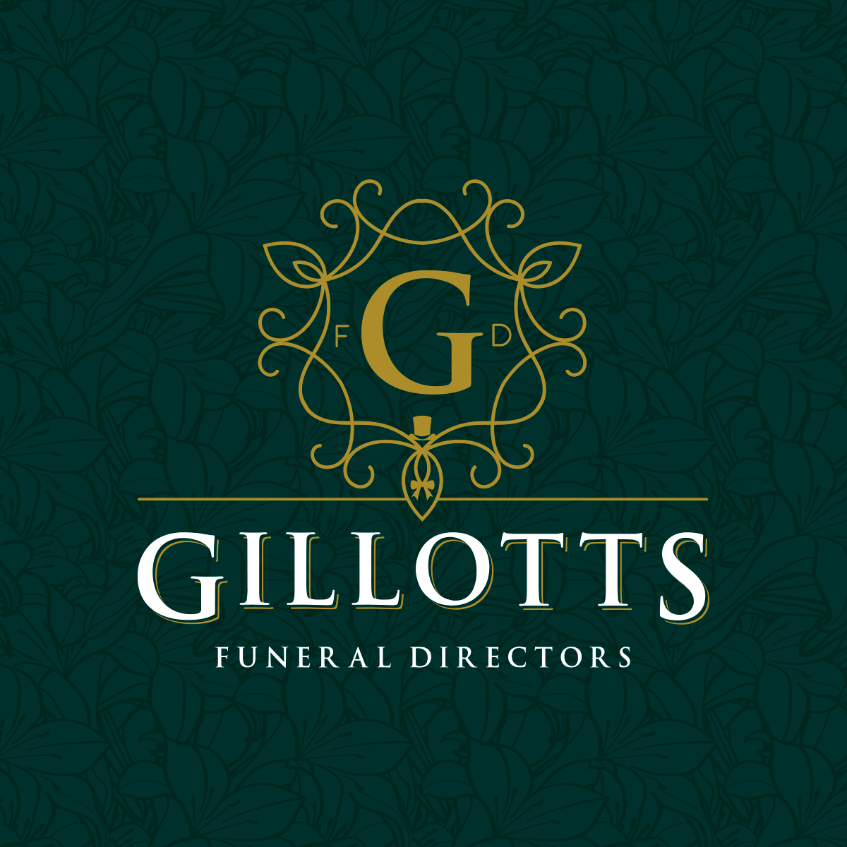Identity for Gillotts Funeral Directors, green patterned background