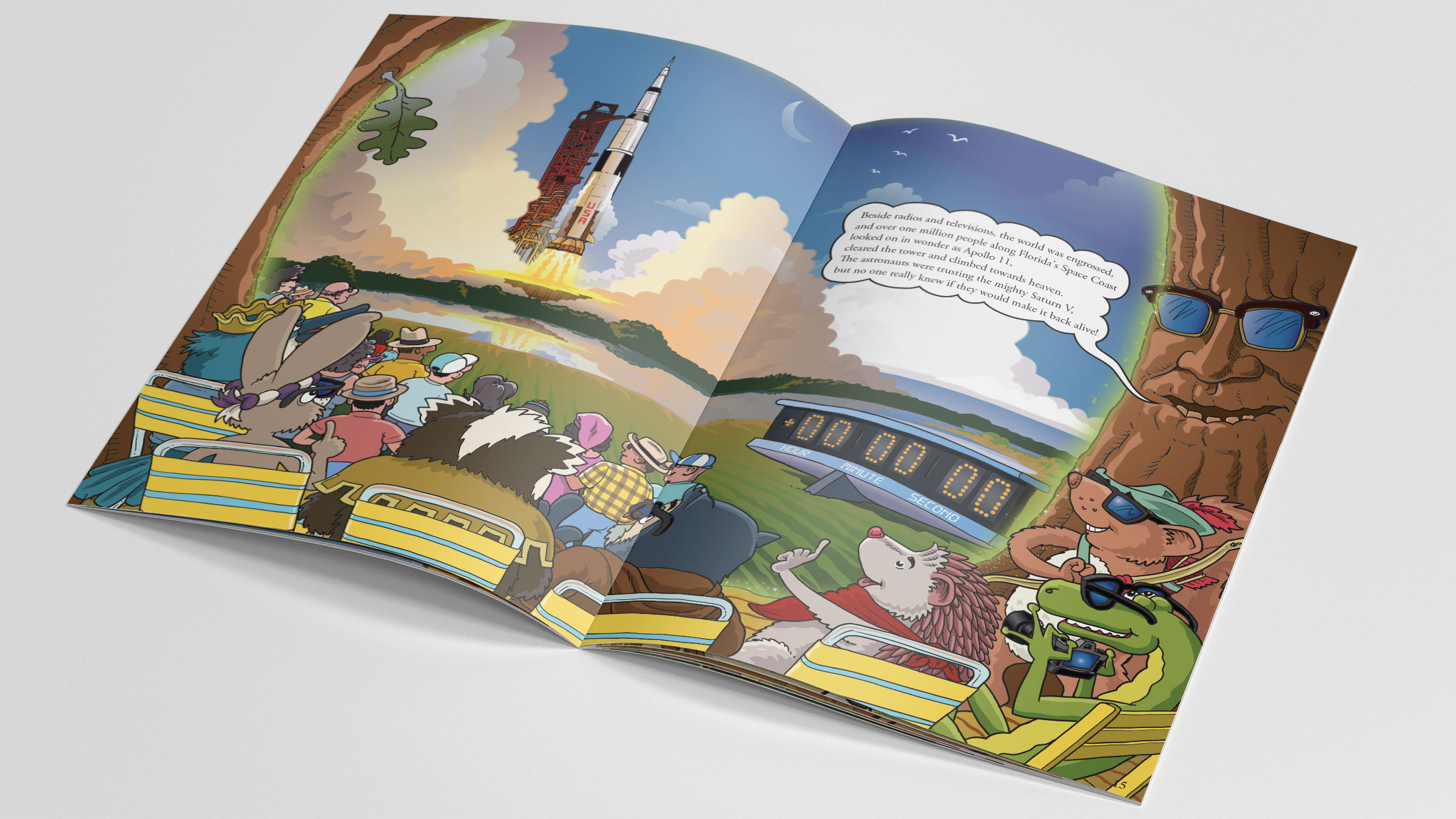 A sample spread from Robin Hood's Little Outlaws' third book, Race to the Moon