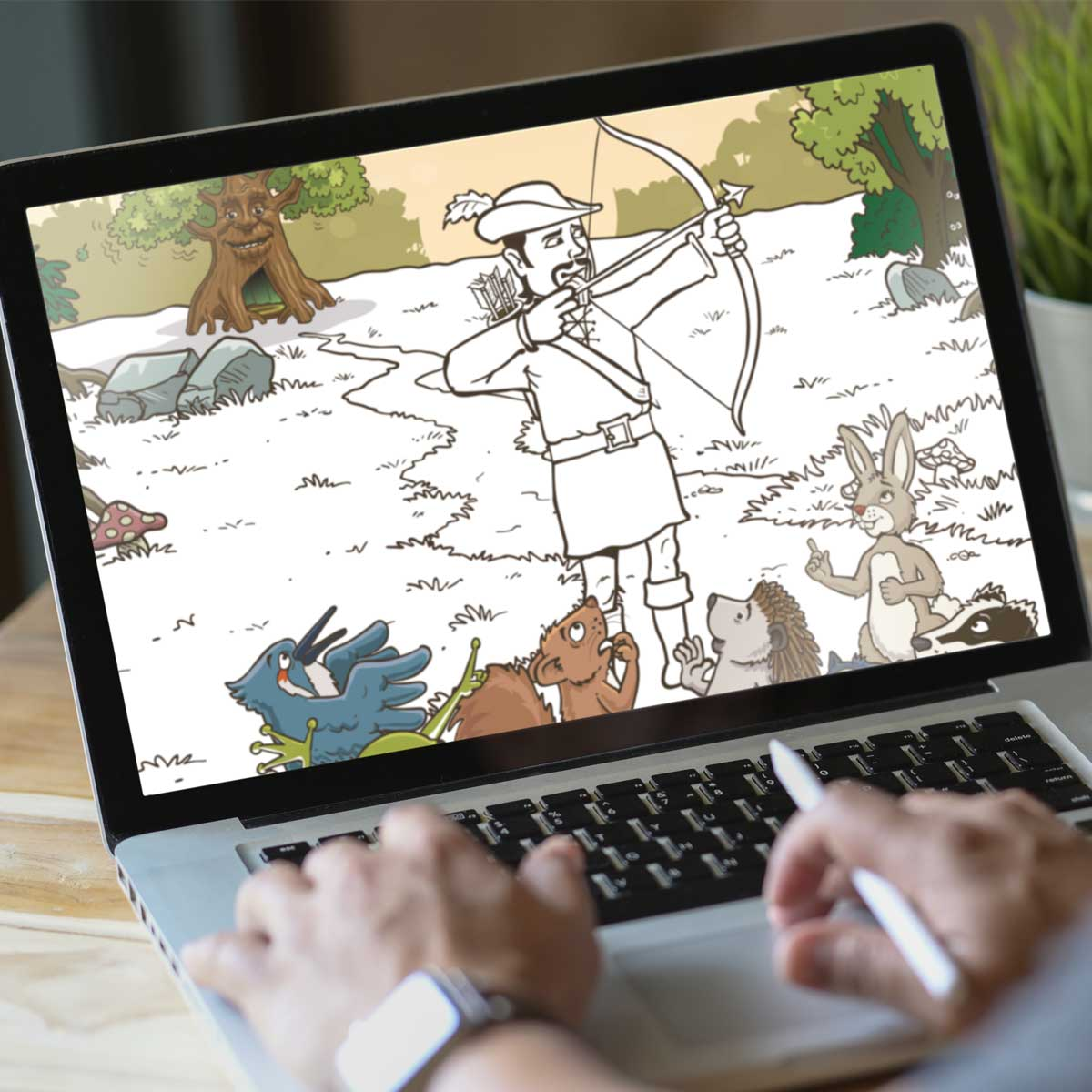 Adding colour to the illustrations for Robin Hood's Little Outlaws