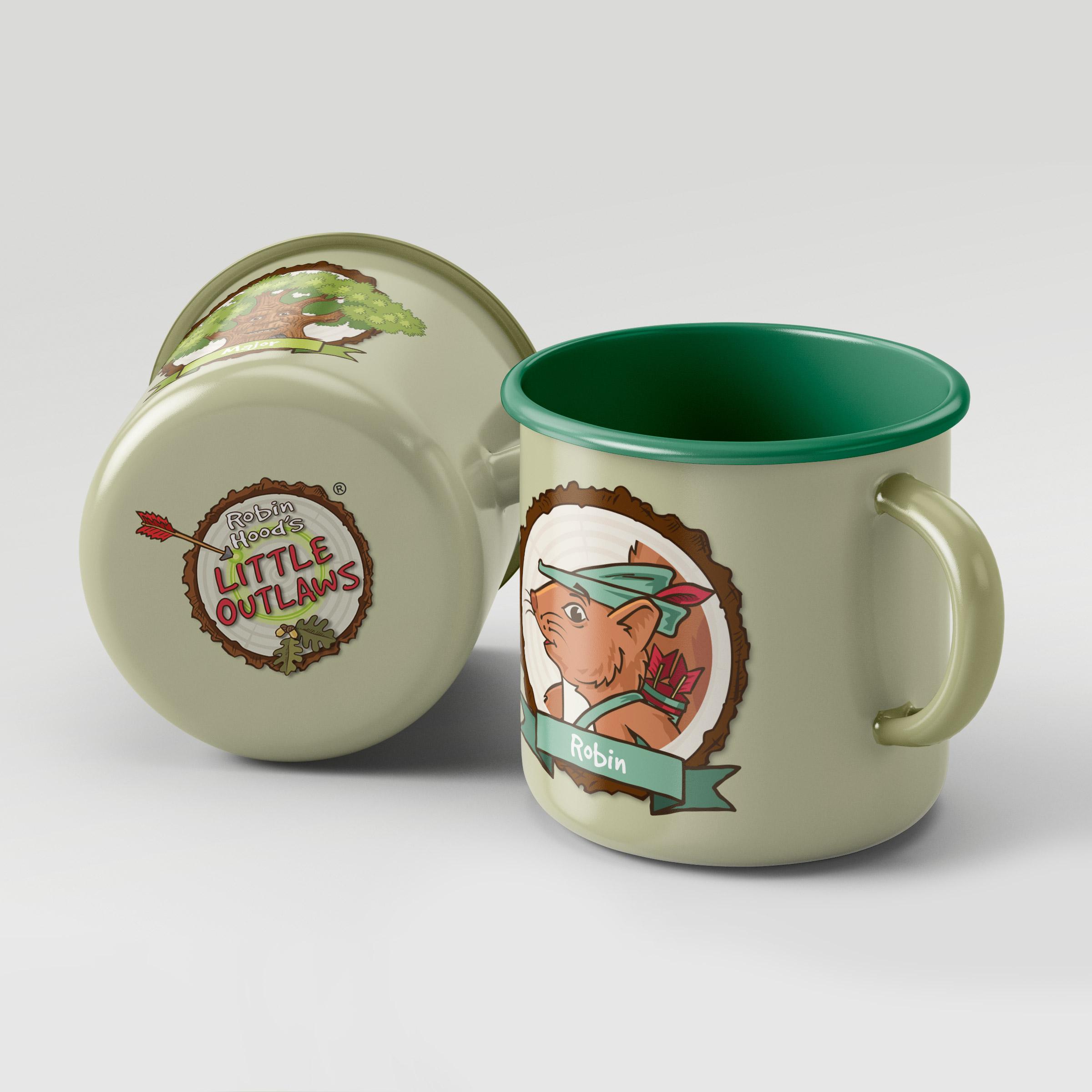 Robin Hood's Little Outlaws branded enamel mugs