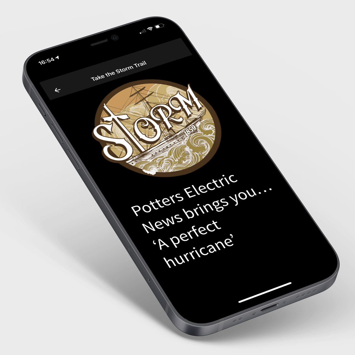 Mobile device showing the 'Storm' augmented reality experience as part of the Cadw app
